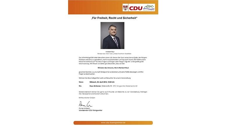 """CDU Königswinter begrüßt Minister Reul als Referenten zum Thema """"Für Freiheit, Recht und Sicherheit!""""."""