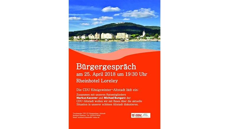 Bürgergespräch, am 25. April 2018 um 19:30 Uhr, Rheinhotel Loreley