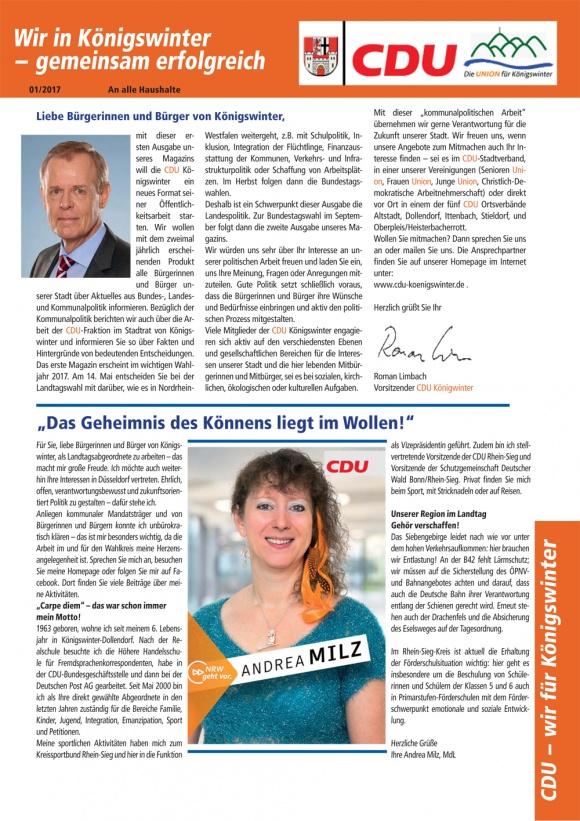 CDU Königswinter Zeitung 01/2017