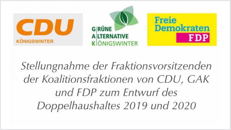 Gemeinsame Stellungnahme der Koaltionsfraktionen zum Entwurf des Doppelhaushaltes 2019 und 2020